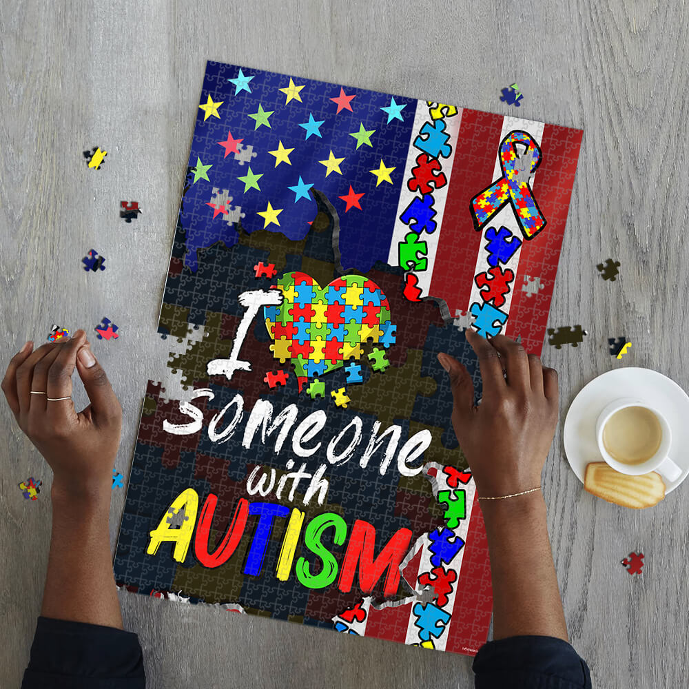 I love someone with autism awareness jigsaw puzzle 2