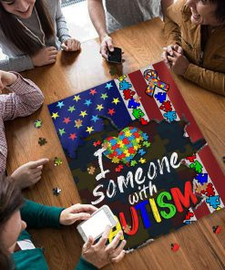 I love someone with autism awareness jigsaw puzzle 4