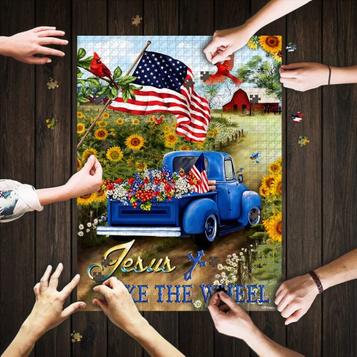 Jesus take the wheel american flag jigsaw puzzle 1