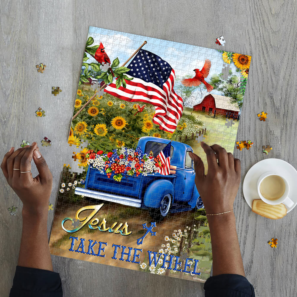 Jesus take the wheel american flag jigsaw puzzle 2