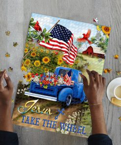 Jesus take the wheel american flag jigsaw puzzle 3