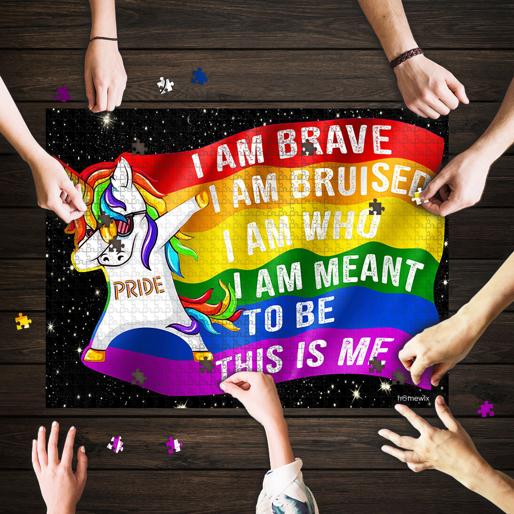 LGBT unicorn i am brave this is me jigsaw puzzle 1