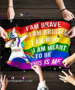 LGBT unicorn i am brave this is me jigsaw puzzle