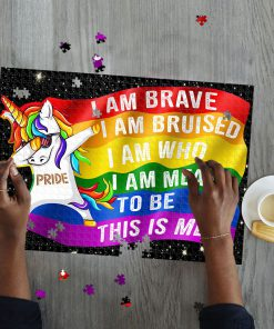 LGBT unicorn i am brave this is me jigsaw puzzle 3