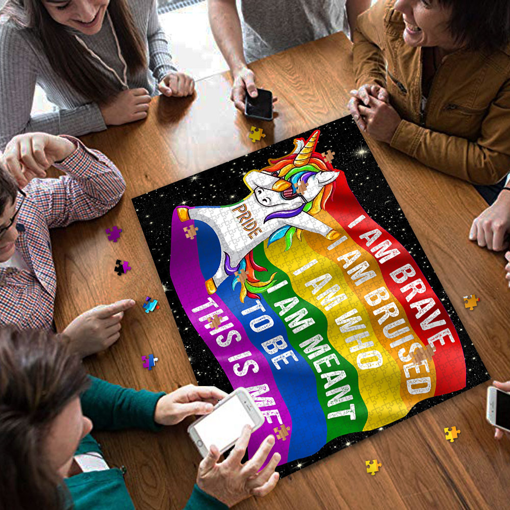 LGBT unicorn i am brave this is me jigsaw puzzle 4