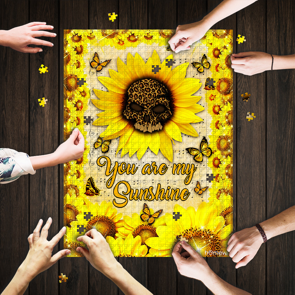 Leopard skull sunflower you are my sunshine jigsaw puzzle 1