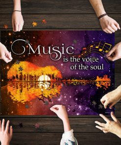 Music is the voice of the soul guitar lake shadow jigsaw puzzle 1