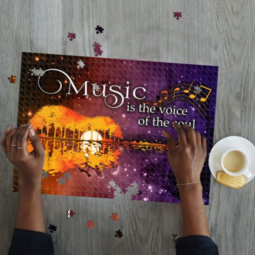Music is the voice of the soul guitar lake shadow jigsaw puzzle 2