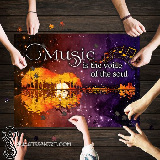 Music is the voice of the soul guitar lake shadow jigsaw puzzle