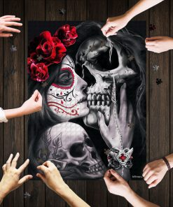 Skull tattoos dead kiss jigsaw puzzle 1