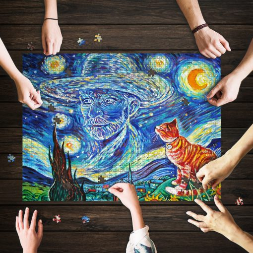 Vincent van gogh paintings starry night cat jigsaw puzzle 1