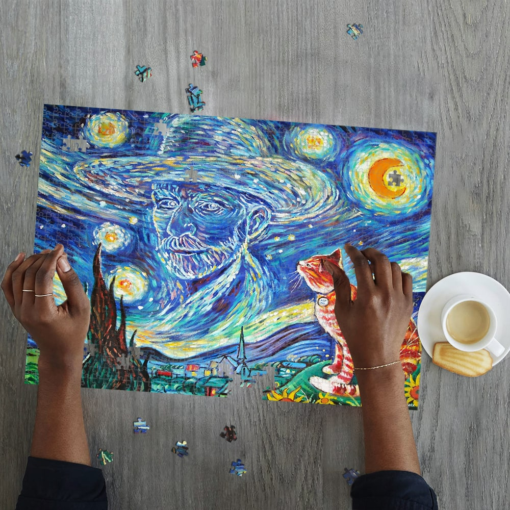 Vincent van gogh paintings starry night cat jigsaw puzzle 2
