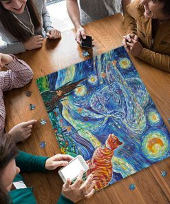 Vincent van gogh paintings starry night cat jigsaw puzzle 3