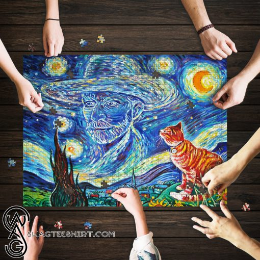 Vincent van gogh paintings starry night cat jigsaw puzzle