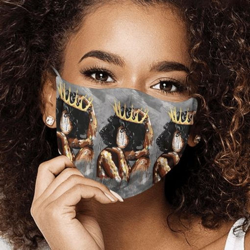 Watercolor painting black queen anti-dust cotton face mask 3