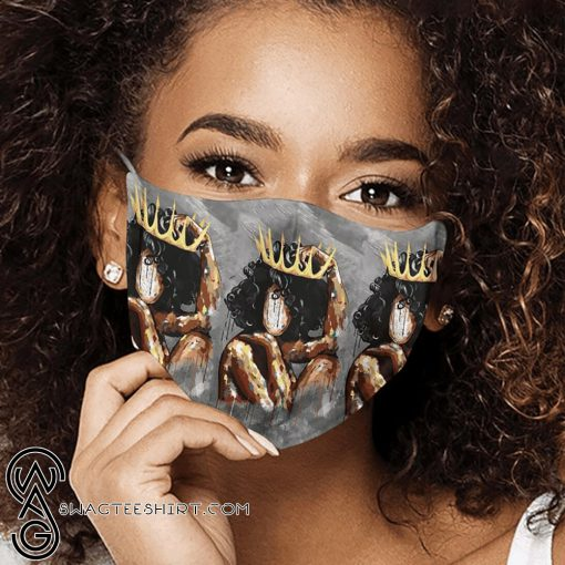Watercolor painting black queen anti-dust cotton face mask