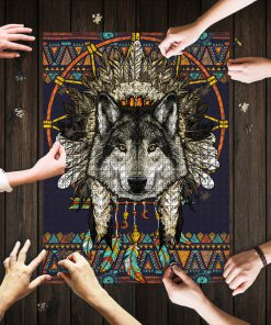 Wolf dreamcatcher native america jigsaw puzzle 1