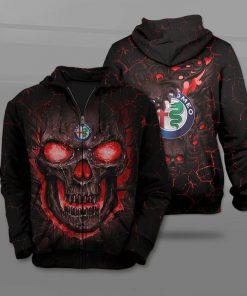 Alfa romeo lava skull full printing zip hoodie