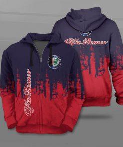 Alfa romeo logo full printing zip hoodie