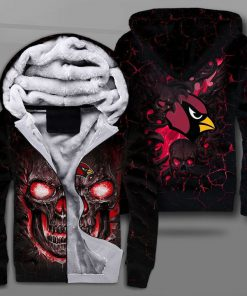 Arizona cardinals lava skull full printing fleece hoodie