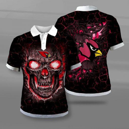 Arizona cardinals lava skull full printing polo