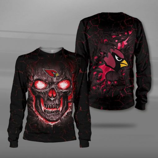 Arizona cardinals lava skull full printing sweatshirt