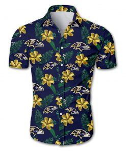 Baltimore ravens tropical flower hawaiian shirt 2