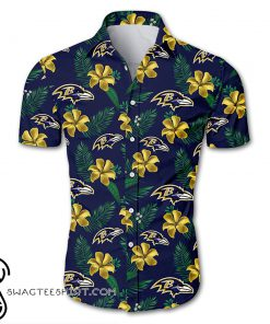 Baltimore ravens tropical flower hawaiian shirt