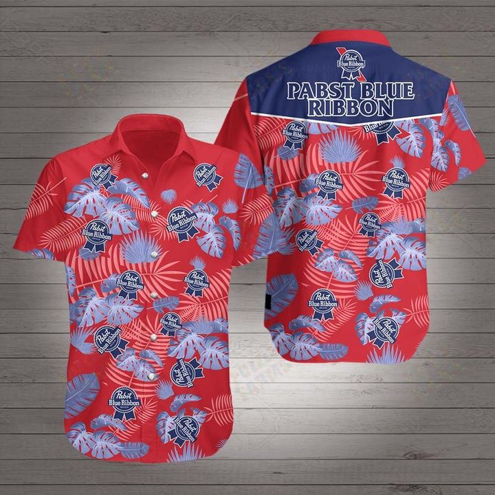 Beer pabst blue ribbon hawaiian shirt 2