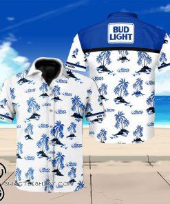 Bud light beer floral hawaiian shirt