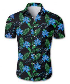 Carolina panthers tropical flower hawaiian shirt 1