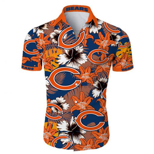 Chicago bears tropical flower hawaiian shirt 1