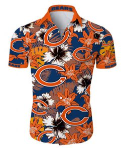 Chicago bears tropical flower hawaiian shirt 2