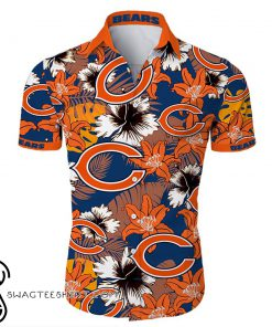 Chicago bears tropical flower hawaiian shirt