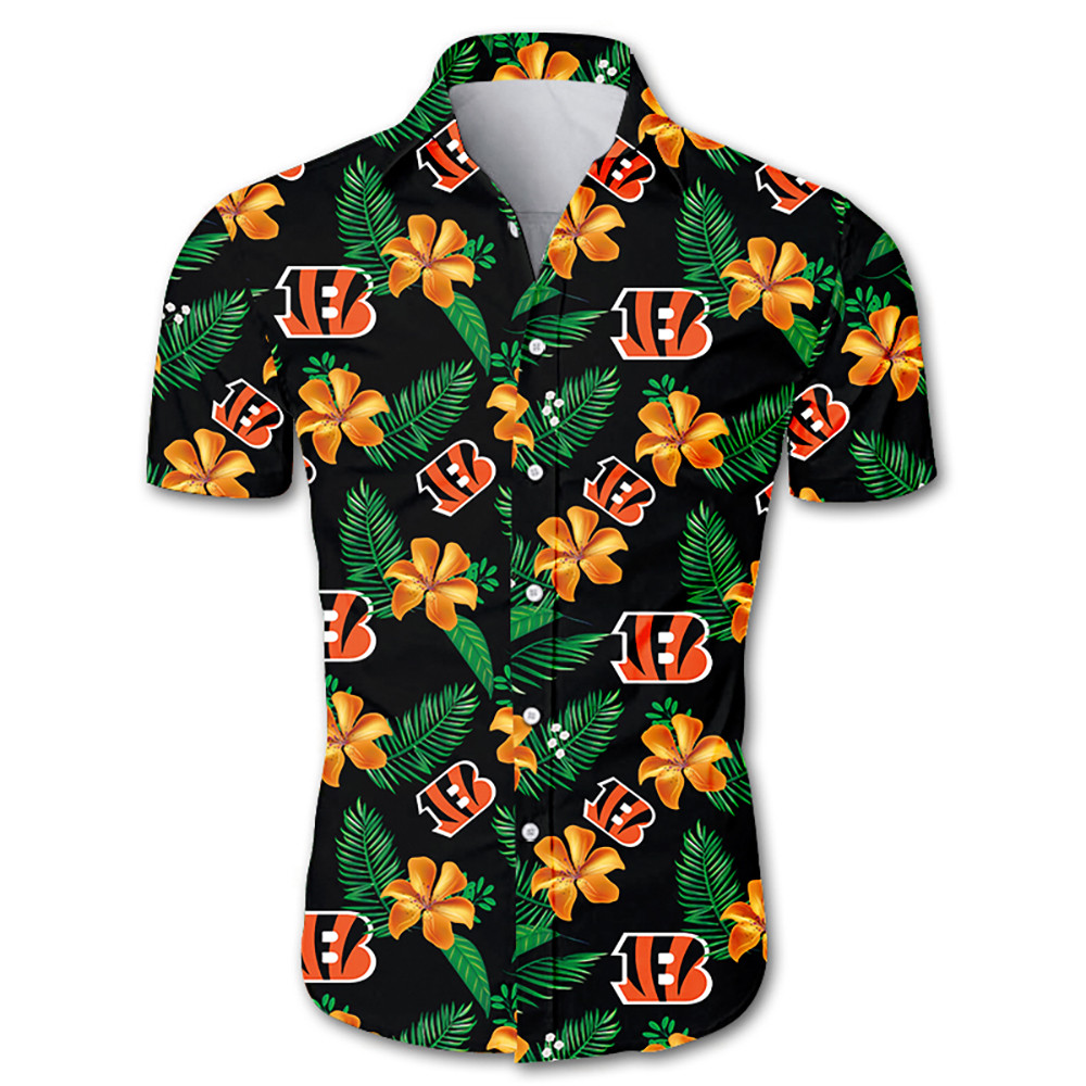 Cincinnati bengals tropical flower hawaiian shirt 1