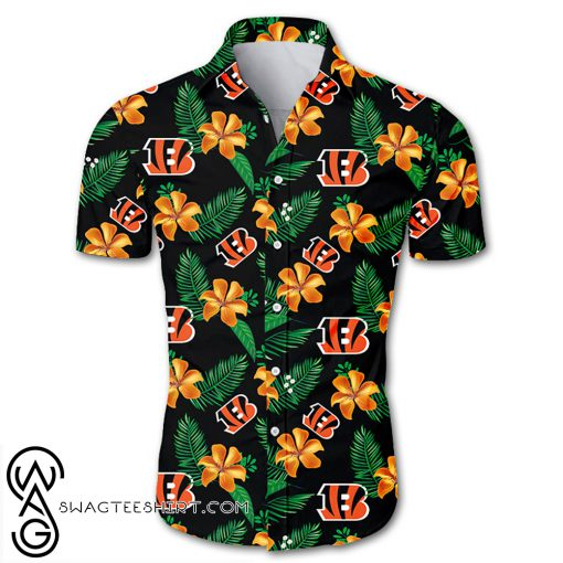 Cincinnati bengals tropical flower hawaiian shirt