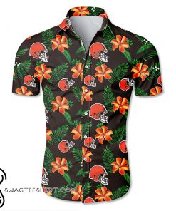Cleveland browns tropical flower hawaiian shirt