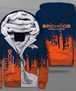 Denver broncos united in orange full printing fleece hoodie