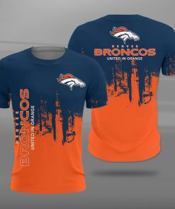 Denver broncos united in orange full printing tshirt