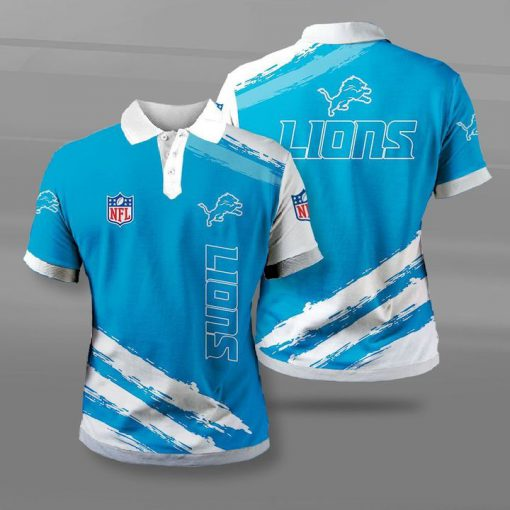 Detroit lions football team full printing polo