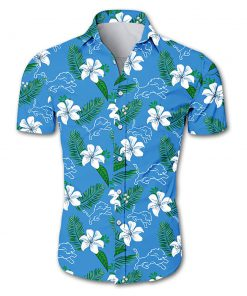 Detroit lions tropical flower hawaiian shirt 1