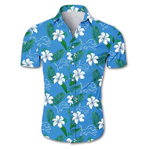 Detroit lions tropical flower hawaiian shirt 2
