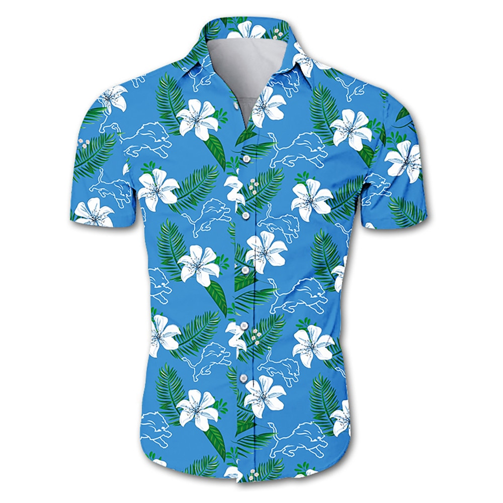 Detroit lions tropical flower hawaiian shirt 4