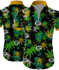Green bay packers cannabis all over printed hawaiian shirt 2