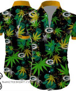 Green bay packers cannabis all over printed hawaiian shirt