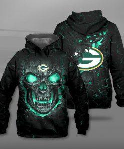 Green bay packers lava skull full printing hoodie