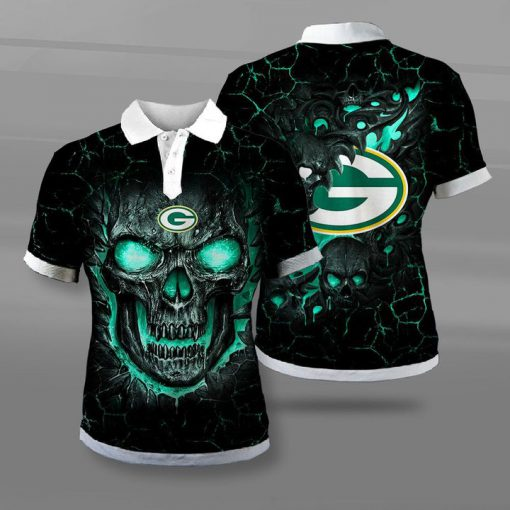 Green bay packers lava skull full printing polo