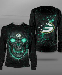 Green bay packers lava skull full printing sweatshirt