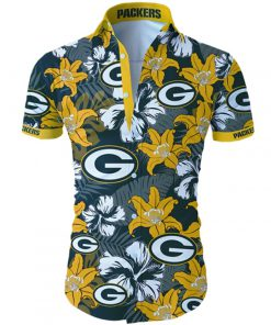 Green bay packers tropical flower hawaiian shirt 1