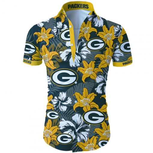 Green bay packers tropical flower hawaiian shirt 2